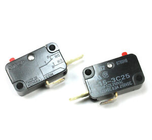 2pcs OMRON Micro Switch Snap Action SPST,  MPN: V-15-3C25, 15A 250vac