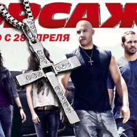 //Collar Colgante Cruz cristal plata Fast & Furious Dominic Toretto joyería