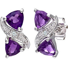 Naava 9ct White Gold Women's Diamond and Amethyst Earrings - (PE03111WAM)