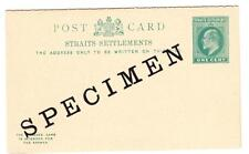 Malaya STRAITS SETTLEMENTS-DOUBLE Postal Card HG:17-SPECIMEN