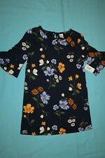 Brand New Old Navy Toddler 3/4 Sleeve Navy Floral Dress Size 3T