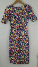 NWT ZARA Floral S Pencil Bodycon Dress 7593 Free Ship Small Knee Short Sleeve
