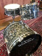 Vintage 1960s Rogers Tower Black Diamond Pearl Drums - Cleveland Era!