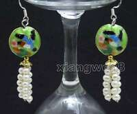 4-5mm Round White Natural Pearl with 18mm Green Cloisonne Dangle earring-ear524