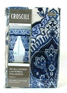 """1 Count Croscill Leland 67"""" W X 18"""" L Navy Polyester Scalloped Layer Valance"""