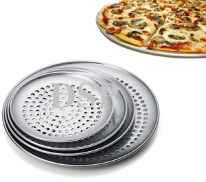 """7""""to20""""Inch Perforated Thin Crust Aluminium Pizza Pan Tray Heavy Duty Commercial"""
