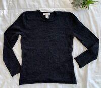 SUSAN BRISTOL Medium 100% Merino Wool Charcoal Grey Pullover Sweater Raw Edge