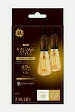 GE Lighting LED Vintage Style Amber Glass Warm Candle Light Medium Base 2 Bulbs