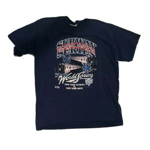 Vintage Yankees Mets Subway Series Blue Tshirt XL 2000 Y2K
