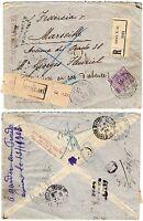 4 - Regno - 50 cent (malva) su raccomandata (resa al mittente) per Francia, 1908