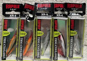 "(5) Rapala XR-4  X-Rap Jerkbait 1.5"" 1/16oz Dives 2-3' Good Colors All New LG7"