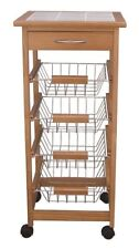 4 Tier 1 Drawer New Ceramic Tiled Top Kitchen Trolley-Honey Colour