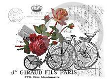 *Bügelbild XL**Shabby*Fahrrad+ Rosen*Dekoration*Bügeltransfer**Landhaus*Cottage*