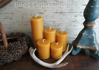 🐝 Beeswax Pillar Candles 100% Pure Natural Beeswax USA / Cylinder Unscented 🐝