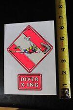 New listing Diver Crossing Shark Neon Scuba Snorkel Dive Vintage Surfing/Diving Sticker
