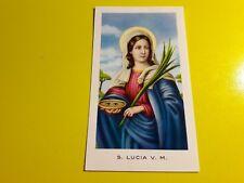 SANTA LUCIA VERGINE E MARTIRE Santino con preghiera nel retro