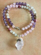 ॐCrystal Blissॐ Rose Quartz Amethyst & Rhodonite Fertility Necklace with Pendant