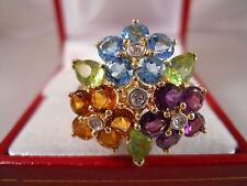 HEAVY WIDE 14K SOLID GOLD DIAMOND PERIDOT TOPAZ AMETHYST CITRINE RING 14KT 7.47G