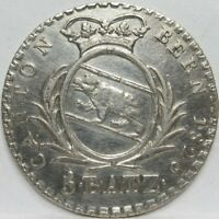 SWITZERLAND 5 Batzen Silver 1826 Canton Bern Bear XF+ #A41