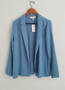 NWT $98 Philosophy Women's Blue Open Front Blazer Sz 12