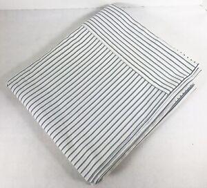Pottery Barn Ticking Stripe QUEEN Flat Sheet Organic Cotton Blue White 96 x 105