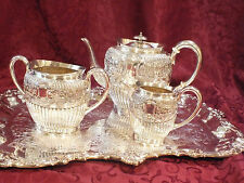 Ornate Chased Sheffield H.B Mark Silverplate Coffee /Tea Set # 690 + Bonus Tray