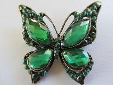 Impresionante Estilo Deco Piedra Verde Set De Oro Antiguo Y Mariposa Broche Nuevo Caja De Regalo