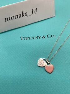 Near MINT TIFFANY & Co. Return to Mini Double Heart Necklace Pink No Box