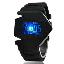 Black Men Fashion Metal Sport Digital LED Light Alarm Wrist DIAL Watch Silicone