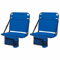 EastPoint Sports Adjustable Back Stadium Seat w/ Cup Holder, Royal Blue (2 Pack)