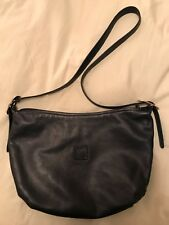 Vintage Anne Klein for Calderon Navy Leather Bag with Outer and Inner Zip Pocket