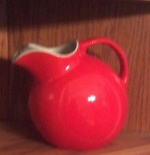 Vintage Hall USA Pottery Ball Pitcher With Ice Lip Chinese Red Holds Over 2 Qts.