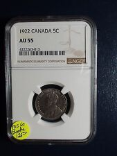 1922 Canada Nickel NGC AU55 5C Coin PRICED TO SELL RIGHT NOW!