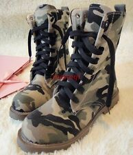 Womens Camoflage Ankle Boots Riding MilitaryLace Up Round Toe Combat Shoes Size