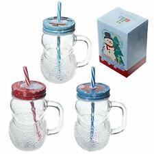 Fun Glass Drinking Jar with Straw - Christmas Snowman