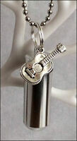 Cremation Jewellery Ashes Urn w Guitar Keepsake Memorial Necklace