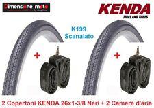 "2 Copertoni ""KENDA"" 26x1-3/8 K199 Nero + 2 Camere d'aria per Bici 26"" Olanda"