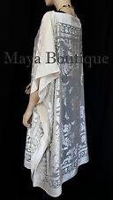 Burnout Velvet Caftan Dress Duster Kimono Ivory No Fringes Maya Matazaro USA
