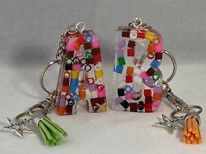 Chunky Alphabet Letter Keyrings. Colourful Beads Encased in  Clear Resin.