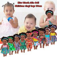 Black African Black Baby Cute Curly Black 30CM Vinyl Baby Toy Girl