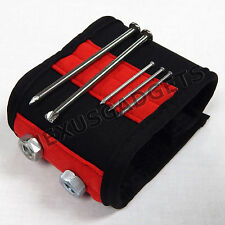 Magnetic Wristband Wrist Band Tool Belt Cuff Bracelet Nail Screw RED -PACK OF 50
