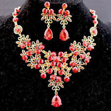 Prom Wedding Bride Crystal Diamond Rhinestone Necklace Earrings Sets Jewelry