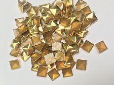 100 x 7mm Gold Hot Fix Pyramid Studs, iron on studs