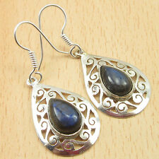"""925 Silver Plated, Blue Fired Labradorite Celtic Earrings 1.7"""" Factory Direct"""