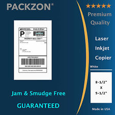 1000 Shipping Labels 8.5x5.5 Straight Corner Self Adhesive 2 Per Sheet PACKZON®