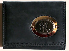 Black Leather Wallet License MLB Baseball New York Yankees Medallion Trifold