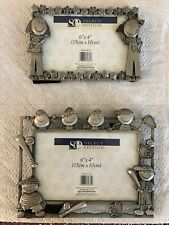 Pair Picture Frames. Horizontal. Pewter. New.