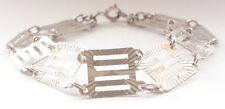 Stunning 925 Sterling Silver Fine Bar and Gate Link Chain Bracelet Vintage Retro