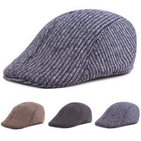 Men's Striped Driving Golf Cap Warm Cabbie Beret Newsboy Hat New Fashion