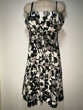 Definitions Ivory and Black Floral Lined Faux Petticoat Dress - Size 16 (379g)